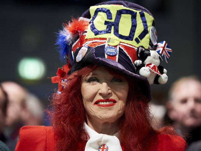 Rally ... a pro-Brexit campaigner at a public meeting in central London. Picture: AFP/Niklas Halle'n