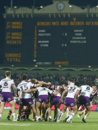 The Sydney Roosters beat Melbourne Storm in a nailbiting NRL contest at Adelaide Oval last year. Picture: Sarah Reed