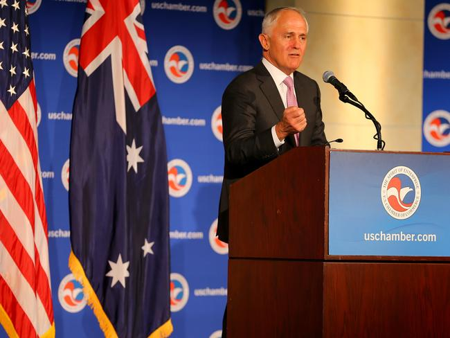 Focusing on China ... Prime Minister Malcolm Turnbull attends a breakfast meeting at the US Chamber of Commerce in Washington DC. Picture: Nathan Edwards