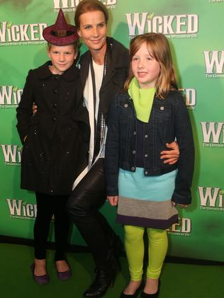Rachel Griffiths with her daughter Adelaide and friend Laura.