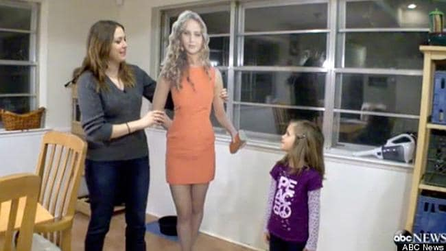 Kitty with her daughter and her body idol, Jennifer Lawrence.