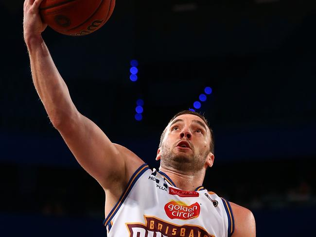 Brisbane's Adam Gibson against the Perth Wildcats.