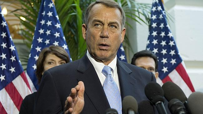 Speaker of the House John Boehner speaks in Washington as the deadline for raising the debt ceiling fast approaches. Picture: AFP
