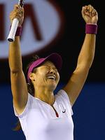 China's Li Na celebrates her victory against Slovakia's Dominika Cibulkova. Picture; Picture: AFP