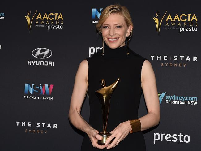 Still a little teary ... Cate Blanchett with the Longford Lyell Award called for more of the country's actors to be on screen. Picture: AAP Image / Dan Himbrechts