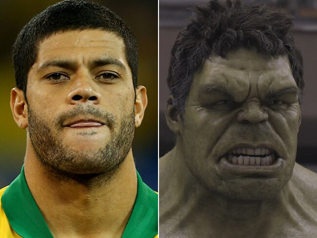 Hulk on the left, Hulk on the right.