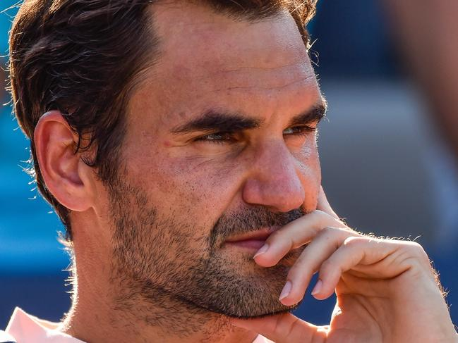 MONTREAL, QC - AUGUST 13: Roger Federer of Switzerland looks on after his 6-3, 6-4 loss to Alexander Zverev of Germany in the final during day ten of the Rogers Cup presented by National Bank at Uniprix Stadium on August 13, 2017 in Montreal, Quebec, Canada.   Minas Panagiotakis/Getty Images/AFP == FOR NEWSPAPERS, INTERNET, TELCOS & TELEVISION USE ONLY ==