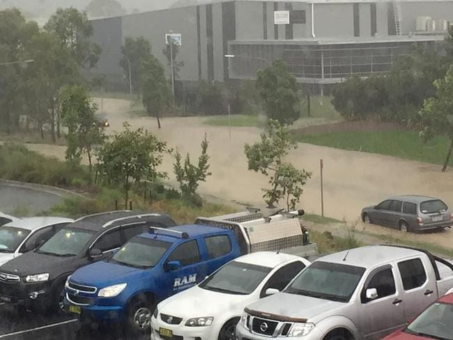 A car caught in flash flooding in western Sydney last week. Picture: Facebook.