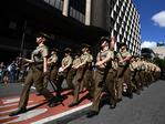 Soldiers march during the Anzac Day parade in Brisbane. Picture: AAP/Dan Peled