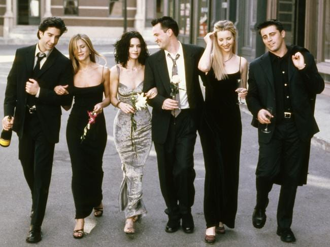 The cast of Friends, from left: David Schwimmer as Ross Geller, Jennifer Aniston as Rachel Green, Courteney Cox as Monica Geller, Matthew Perry as Chandler Bing, Lisa Kudrow as Phoebe Buffay and Matt LeBlanc as Joey Tribbiani. Picture: NBC/NBCU Photo Bank via Getty Images