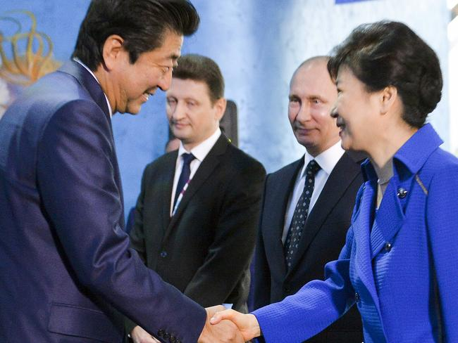 South Korean President Park Geun-hye, right, and Japanese Prime Minister Shinzo Abe consulted each other following news of North Korea's latest nuclear test.  'N. Korea nuclear check a grave risk' 1c5cbc39c38a8bb860f143e188dfbb20