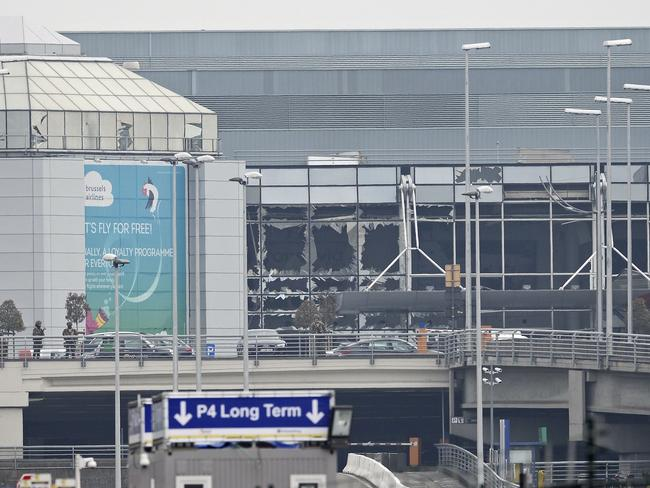 The damage to the facade of Brussels Airport. Picture: AFP / BELGA / DIRK WAEM