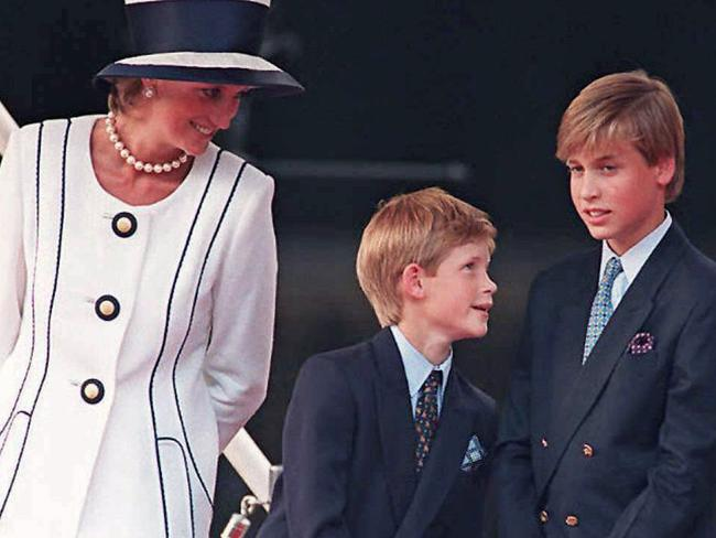 Diana with Prince Harry and Prince William in 1995 — two years before her tragic death. Picture: AFP PHOTO / JOHNNY EGGITT