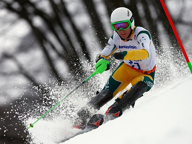 Mitchell Gourley of Australia competes in the Men's Slalom 1st Run — Standing during day six of Sochi 2014 Paralympic Winter Games.