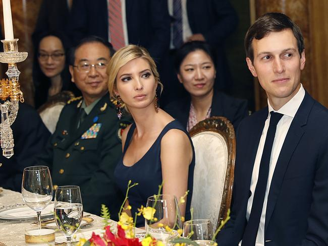 Ivanka Trump, second from right, the daughter and assistant to President Donald Trump, is seated with her husband, White House senior adviser Jared Kushner, right, during a dinner with President Donald Trump and Chinese President Xi Jinping at Mar-a-Lago in Palm Beach. Picture: AP