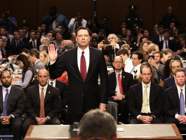 James Comey is sworn in. Picture: Mark Wilson/Getty Images/AFP