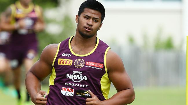 Payne Haas has impressed during Broncos pre-season training. Picture: Liam Kidston.