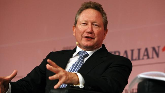 "Billionaires row ... mining magnate Andrew ""Twiggy"" Forrest"" is on the list."