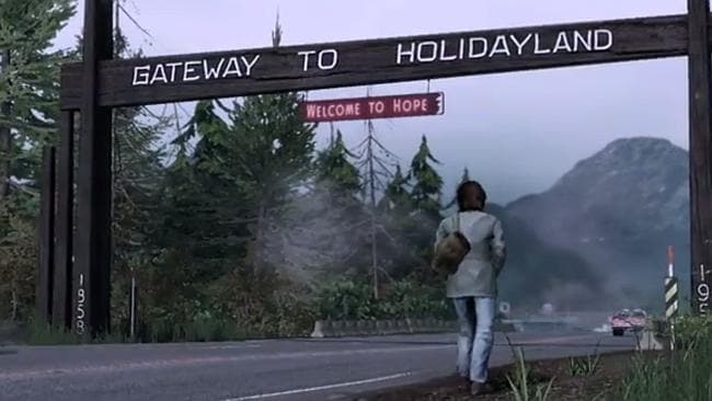 Rambo arrives at Holidayland - a screen capture from the game Rambo: The Video Game