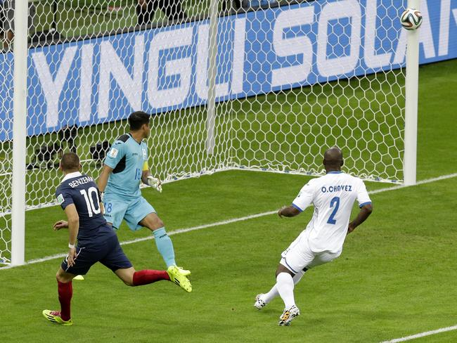 Goal line technology was eventually required to confirm France's second goal against Honduras.