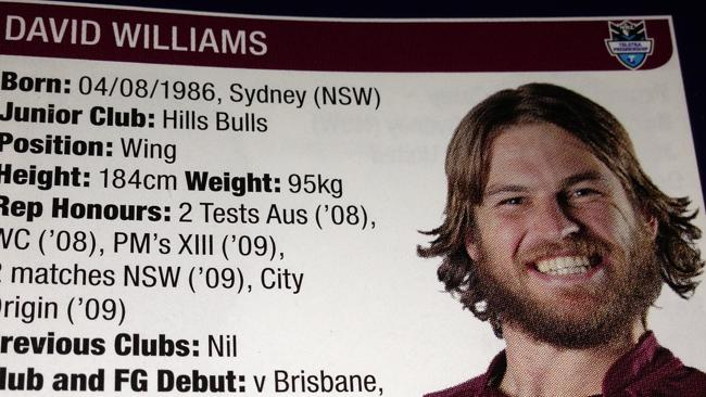 David Williams produces some slicked-down gold in his 2012 NRL profile photo.