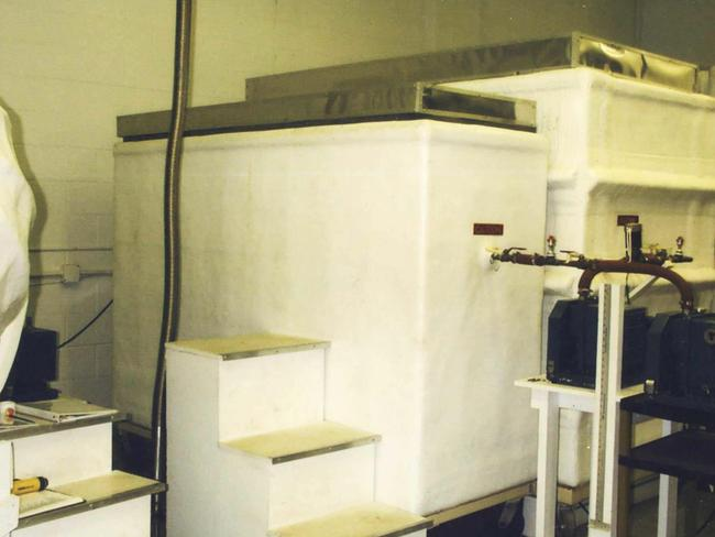 An example of a cryonics chamber which contains frozen bodies.
