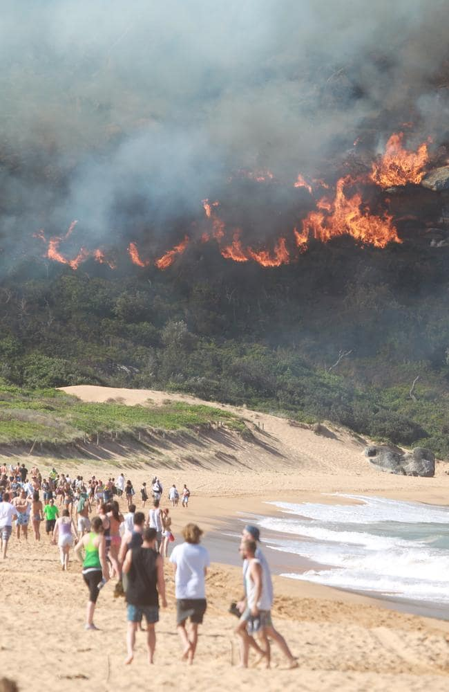 Weather extremes ... A bushfire threatened the area where Home and Away is filmed late last year. Picture John Grainger