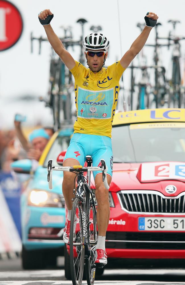 Vincenzo Nibali of Italy and Astana Pro Cycling celebrates winning the eighteenth stage of the Tour.