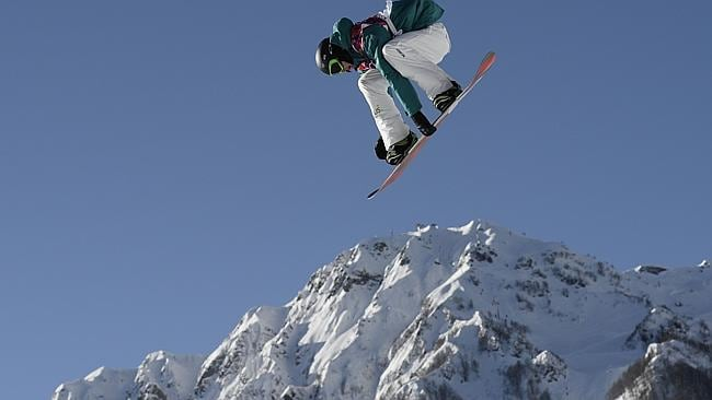 Australia's Scotty James competes in the Men's Snowboard Slopestyle first heat qualification.
