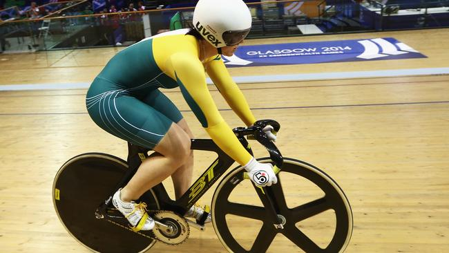 Anna Meares trains in Glasgow.