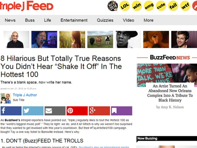 Triple J's Buzzfeed-style list of why Taylor Swift didn't make their 2015 list.