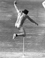 <p>Streaker Michael Angelow hurdling the stumps at Lord's cricket ground in 1975.</p>