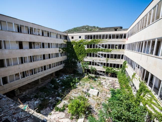 Abandoned hotel in former Tourist Complex of Kupari village, Croatia