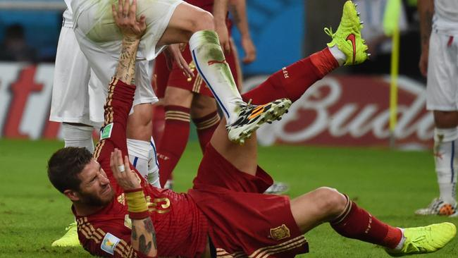 Spain's Sergio Ramos feels the pain.