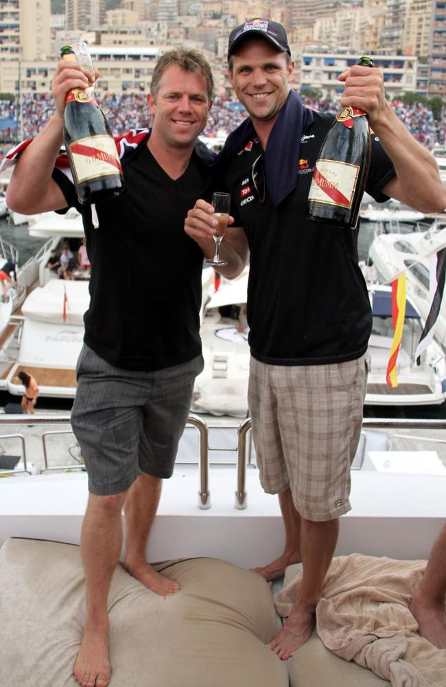 Shinboner Glenn Archer living it up in Monaco with former teammate Leigh Colbert. Picture: Supplied