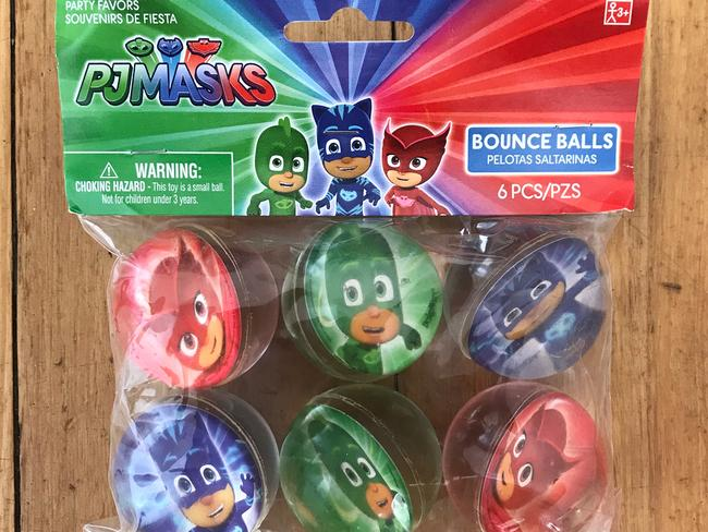 The set of six PJ Masks bouncy balls are sold in Big W for $10.