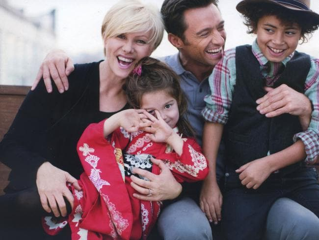 Family man ... Deborra Lee Furness, Hugh Jackman, their kids Ava And Oscar.