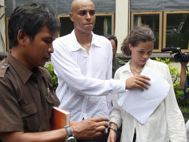 Facing jail ... the pair was arrested at a Kuta hotel where they are alleged to have checked in using Mrs Mack's credit card. Picture: Lukman S Bintoro