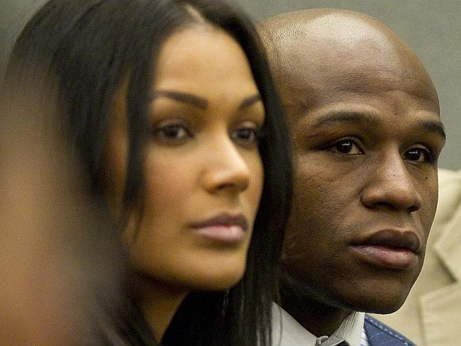 "Mayweather accused his ex-girlfriend Shantel Jackson (left) of ""killing our twin babies""."