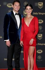 Canberra Raiders player Jarrod Croker and Brittany Wicks arrive at the Dally M Awards in Sydney, Wednesday, September 27, 2017. . Picture: AAP Image/Dan Himbrechts