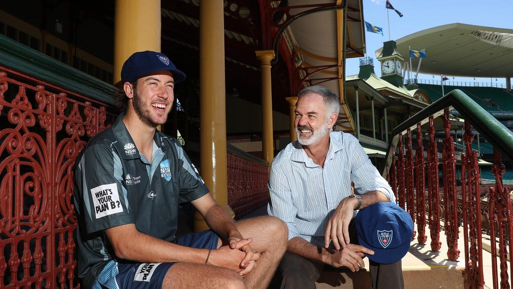 NSW rookie Charlie Stobo with his father Richard, a former Blues first-class player, at the SCG.