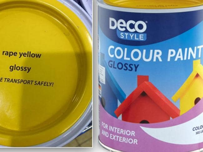 Insensitive ... The woman blasted Aldi for using the name 'rape yellow' on its paint. Picture: Twitter.