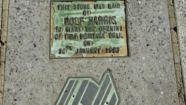 The plaque outside Rolf Harris' childhood home on Bassendean Parade. Picture: Theo Fakos