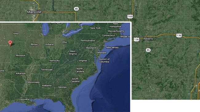 The 'Outback' rural United States towns of Maryville and Albany, Missouri. Source: Google Maps