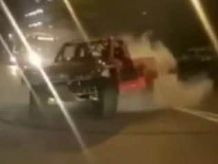 Robby Gordon's Darwin burnout left the NASCAR star in hot water. Picture: Channel Nine