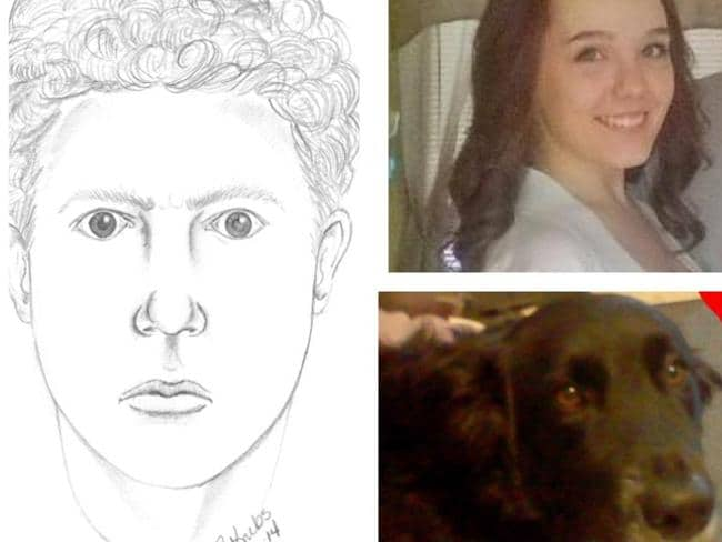 A poster being circulated by locals: From left: A police sketch of a person seen in the area around the time of the murder, April Millsap, 14, and April's dog Penny.