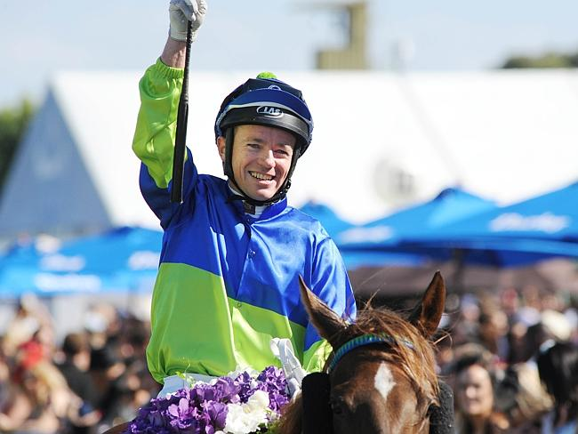 "Jockey Stephen Baster said Eloping was able to get a ""cheap sectional"" mid-race and that helped the filly hang on for her fourth career win. Picture: Simon Bullard"