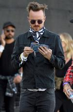 Breaking Bad's Aaron Paul at Coachella 2016. Picture: Splash News