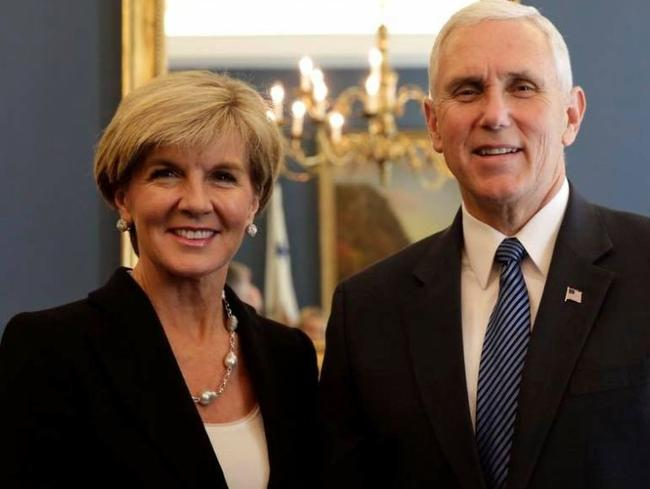 Foreign Minister Julie Bishop invited US Vice President Mike Pence to visit Australia in February. Picture: Twitter/Julie Bishop