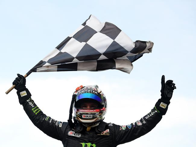 Waters celebrates his maiden Supercars win at Sandown.